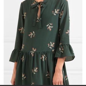 MADEWELL green 3/4 sleeve floral dress LARGE